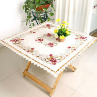 Vintage Lace Embroidered Tablecloth Rectangle Floral Table Runner Wedding Decor