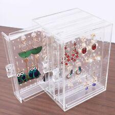 1x Transparent Plastic Earrings Necklace Rack Jewelry Storage Box Rack Organizer