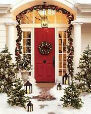 "Pottery Barn Christmas Outdoor Indoor Pine Garland 120"" Red Silver NEW"