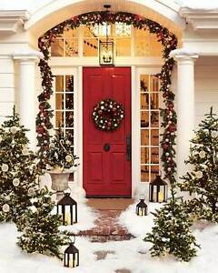 """Pottery Barn Christmas Outdoor Indoor Pine Wreath 24"""" Red Silver NEW"""