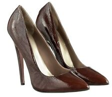 MORI MADE IN ITALY SKY HIGHEST HEELS PUMPS SCHUHE SUEDE LEATHER BROWN MARRONE 45