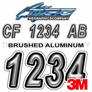 Brushed Metal Custom Boat Registration Number Decals Vinyl Lettering Stickers