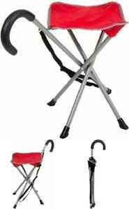 Quad Base Folding Cane Chair Walking Stick w/ Stool Stadium Easy Fold Seat Rest