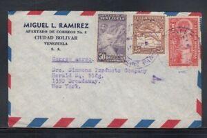 VENEZUELA Commercial Cover Ciudad Bolivar to New York City 5-9-1940 Cancel