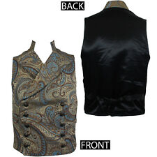 SHRINE CLOTHING Cavalier Gold Blue Victorian Tapestry Steampunk Vest XL NEW