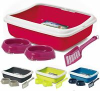 Large Cat Litter Box Tray + Scoop + Bowls Toilet Bundle Kitten Pet Loo Pan Deep
