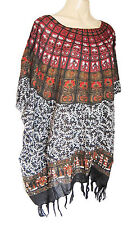 Ladies BLACK/ DARK RED PRINT Kaftan Poncho Tunic beach large plus size new