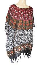 femmes noir/rouge foncé imprimé caftan poncho tunique plage grand taille NEUF
