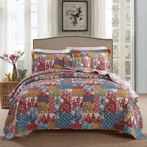 Reversible Cotton Patchwork Coverlet Bedspread 3pc Set Queen King MP029