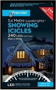 Festive Xmas  240 LED Snowing Icicle Blue and White Christmas Lights with Timer