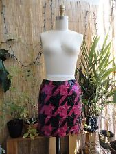 *FRENCH CONNECTION* Densely Sequined Houndstooth Mini Skirt Black Pink S 2 4