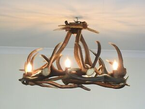 Real Rustic Deer Antler Chandelier for 6 Lights, Cabin Pendant Light Decor
