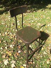 Vintage LYON Industrial DRAFTING STOOL Steampunk ARMY GREEN Metal Chair MACHINE