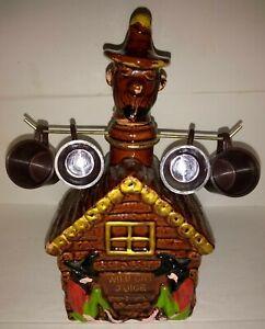 Vintage Log Cabin Hillbilly Moonshine WILD CAT JUICE Decanter complete with cups