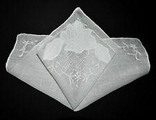 vintage wedding handkerchief Something Old applique Unused embroidery Open Work