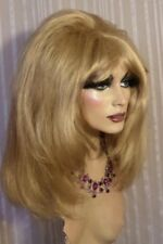 Drag Queen Wig Golden Soft Blonde Teased and Feathered Sides Long
