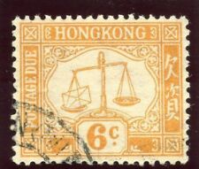 Hong Kong 1931 KGV Postage Due 6c yellow (wmk sideways) very fine used. SG D4a.