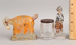 Antique c1920 Figural Glass Candy Containers, Spark Plug, Charlie Chaplin
