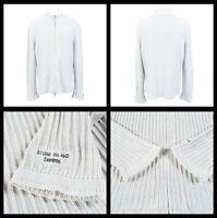 8447 STONE ISLAND Mens Designer Ribbed Cardigan Full Zip Cotton Sweater Sz XL