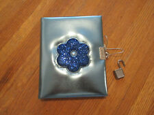 Diary / Journal with Lock and Keys Blue Glittering Flower Motif Lined Sheets NIB