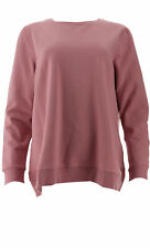 Denim & Co Brush Back Terry Long-Sleeve Pullover Top Rose Blush M NEW A344048