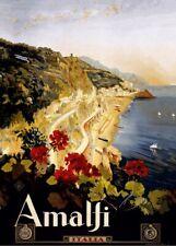 Amalfi, Italy, Classic Vintage Italian Art Deco Travel Poster