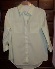 Chico's Pale Soft Lime Easy Cotton Sila Button Down Shirt Size 0 (4, XS) NWT