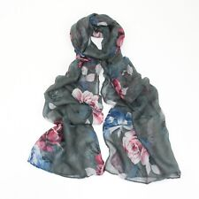Grey Ornate Pink and Blue Flower Vintage Style Print Narrow Scarf