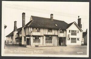 Postcard Long Melford nr Sudbury Suffolk view of The Bull Hotel RP