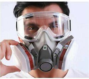 7in1 Atemschutz Halbmaske Gasmaske 6200 Staubmaske Lackiermaske +Schutzbrillen