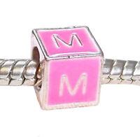 Letter M Initial Pink Enamel Alphabet Cube Charm for European Bead Bracelets