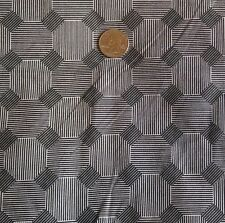"""Cotton Quilt Craft Fabric  Black & White Octagon Stripe 45""""W BTY By the Yard"""