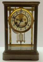 Antique Working 1898 WATERBURY Brass Open Escapement Crystal Regulator Clock