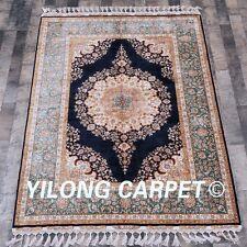 Yilong 4.6'x6.7' Top Handmade Carpet Oriental Hand Knotted Silk Classic Rug C13A