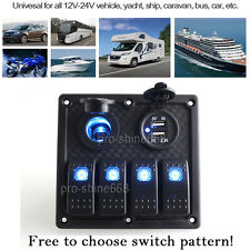 4 Gang Marine Boat Waterproof Rocker Switch Panel Led Indicator Circuit Breake g