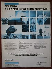 6/1987 PUB SELENIA ITALIA SPADA ASPIDE ASAS ANTI AIRCRAFT NAVAL WEAPON SYSTEM AD