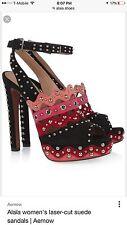 Alaia Fuchsia Suede Laser Cut Open Toe Ankle Sandal Bootie Heel Shoes 37