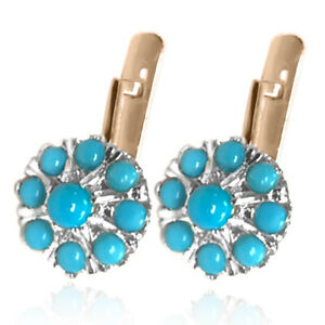 14k Rose and White Gold Genuine Turquoise Russian Style Malinka Earrings # E1481