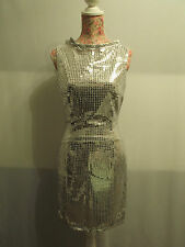 """NEW WITH TAGS SILVER SEQUIN GLITZY RETRO WIGGLE DRESS SIZE 10 waist 28"""" bust 34"""""""