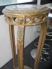 Grande Sellette en bois doré pietement tripode pied de biche cannage marbre XIX?