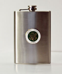 Army HIP FLASK Stainless Steel 8 oz. - Screw Down Cap -