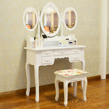 White Dressing Table Makeup Desk with Stool, 7 Drawers and 3 Oval Mirror Bedroom