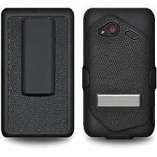 BLACK HARD SHELL CASE + BELT CLIP HOLSTER FOR HTC DROID Incredible 4G LTE