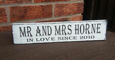Wedding mr & mrs in love since free standing sign shabby vintage chic plaque