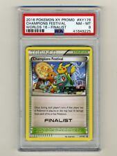 POKEMON PSA 8 NM-MINT 2016 CHAMPIONS FESTIVAL FINALIST STAMP WORLD CARD PIKACHU