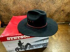 Vintage Mens Stetson Rancher 4X Beaver Black Cowboy Western Hat 6 7/8  In Box