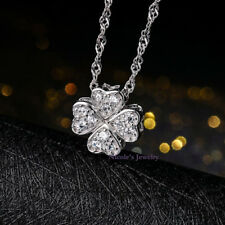 Elegant 18K White Gold Plated Four Leaf Clover Crystal Pendant Necklace 168