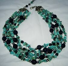 NWOT Bendel's SEQUIN New York Turquoise Bib Necklace