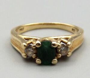Vtg 14K Gold Natural Emerald & Diamond Ring Sz 6.5 Estate .20 Diamond Carat TCW