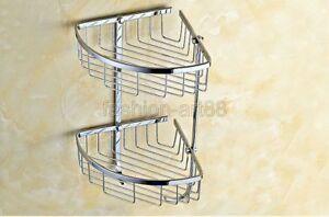 New Chrome 2 Tier Wall Mounted Shower Shelf Bathroom Corner Bath Basket fba525